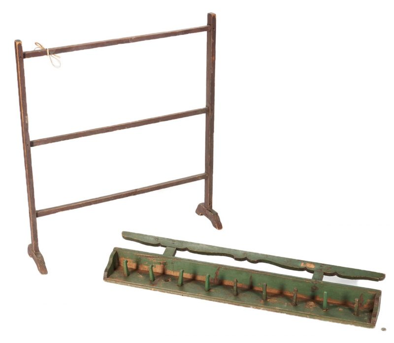 Lot 1060: Painted quilt rack and hanging peg rack