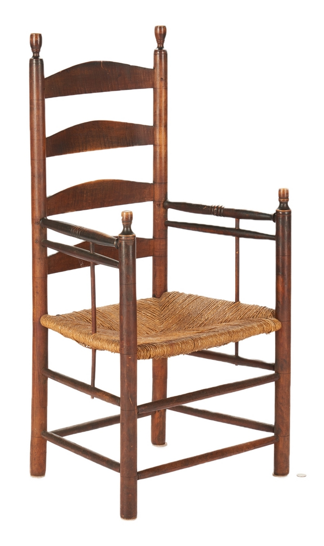 Lot 1063: Early Tiger Maple Slat Back Chair