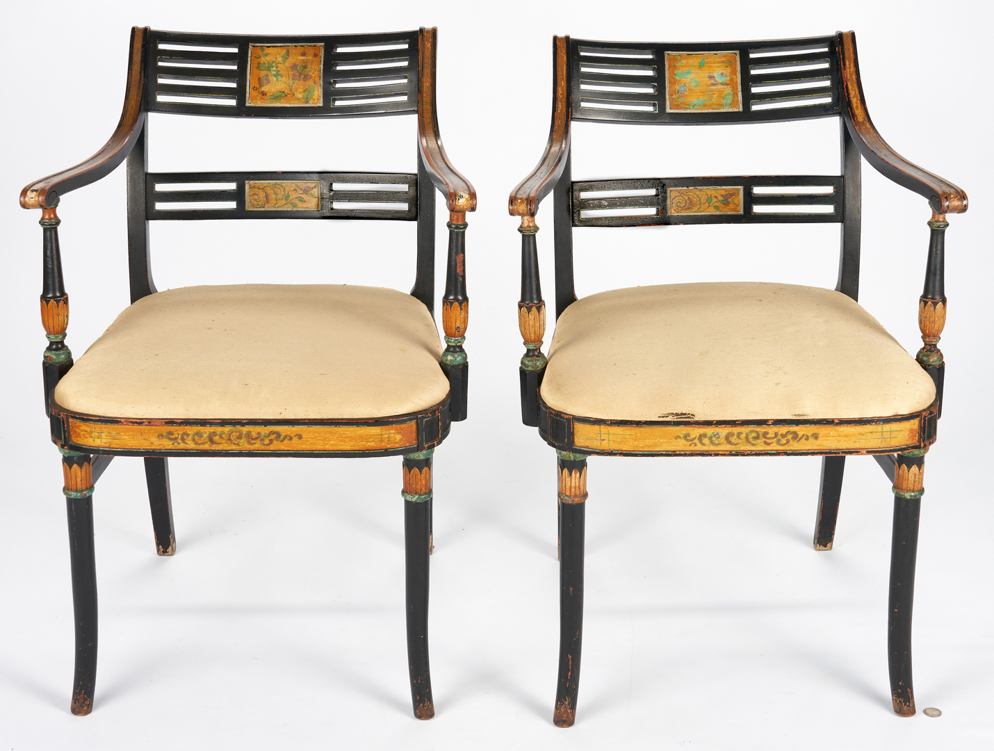 Lot 1064: Pair Paint Decorated Sheraton Style Armchairs