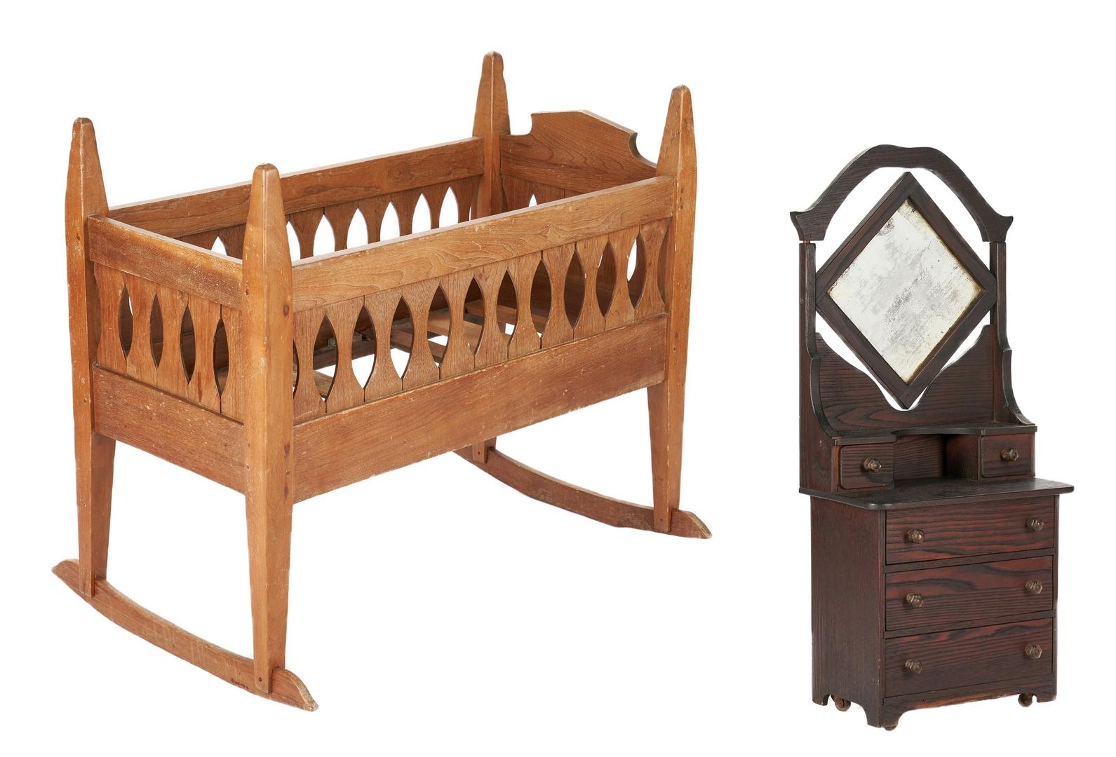 Lot 1065: Paint Decorated Crib, Cradle, & Miniature Dresser