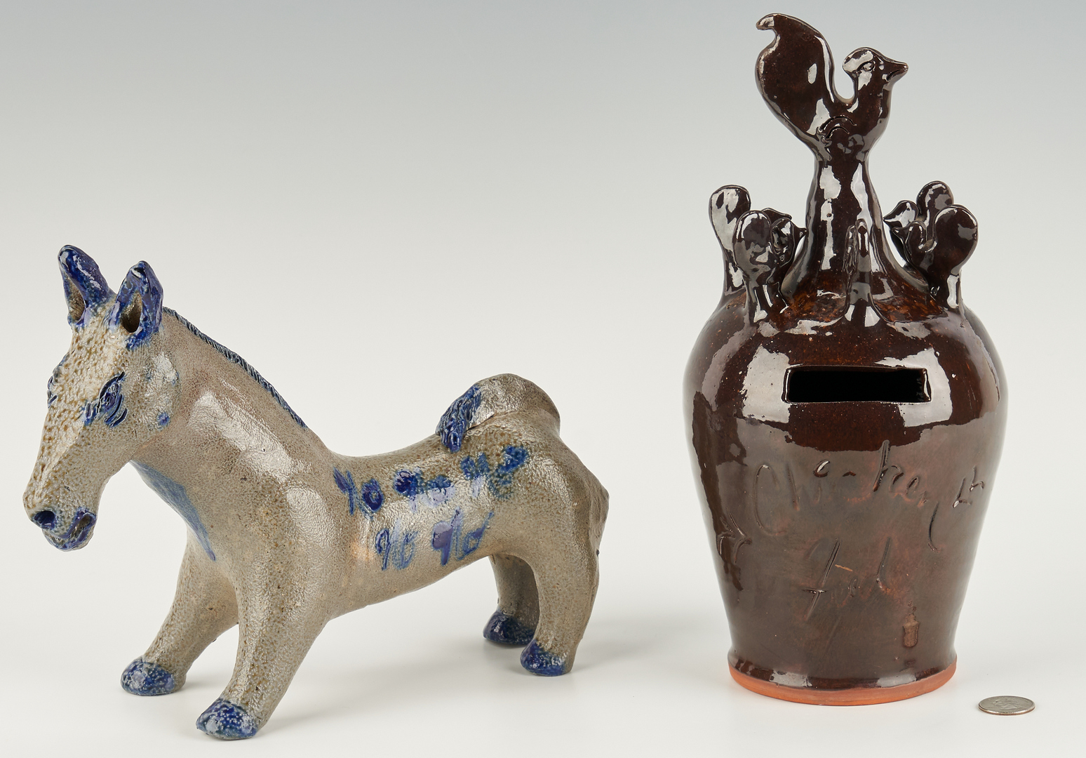 Lot 1068: 2 Billy Ray Hussey Pottery Items, Mule & Chicken Feed Bank