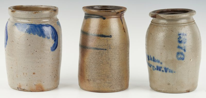 Lot 1072: 3 Mid Atlantic/West VA Cobalt Decorated Jars