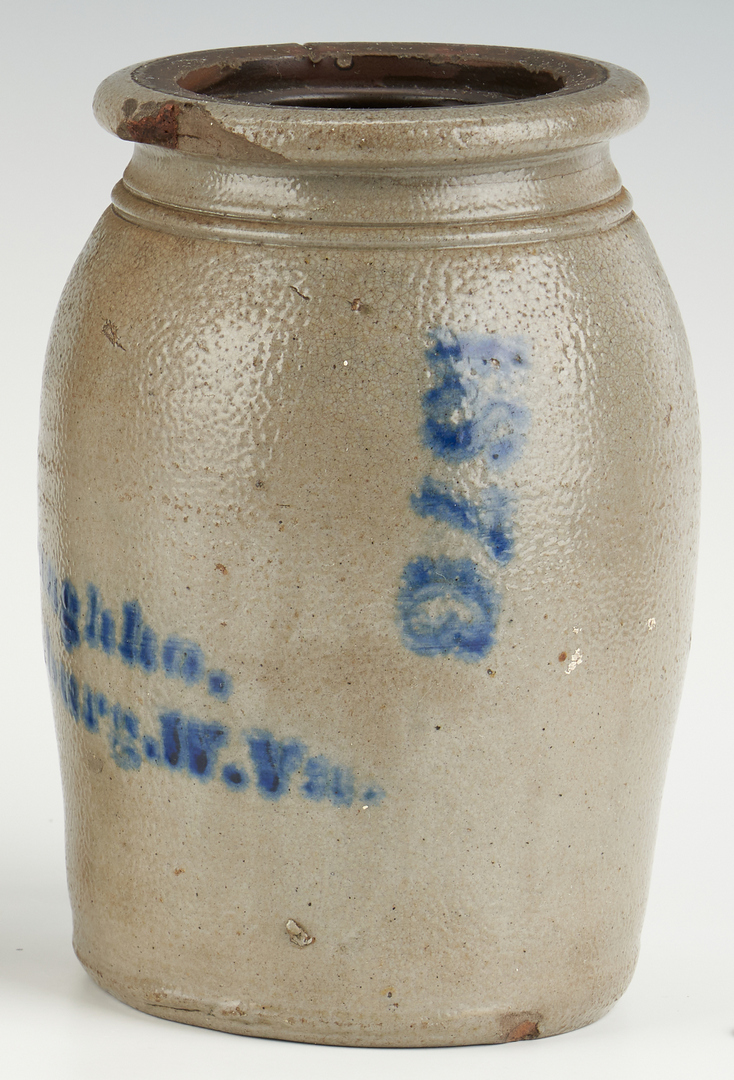 Lot 1072: 3 Mid Atlantic/West VA Cobalt Decorated Jars