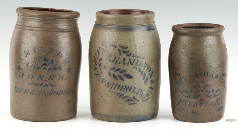 Lot 1073: 3 PA & WV Hamilton Stoneware Jars