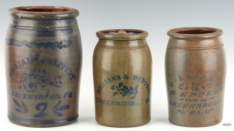 Lot 1074: 3 Williams & Reppert, Greensboro, PA Stoneware Jars