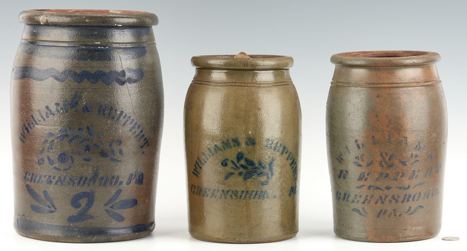 Lot 1074: 3 Williams & Reppert, Greensboro, PA Stoneware Jars