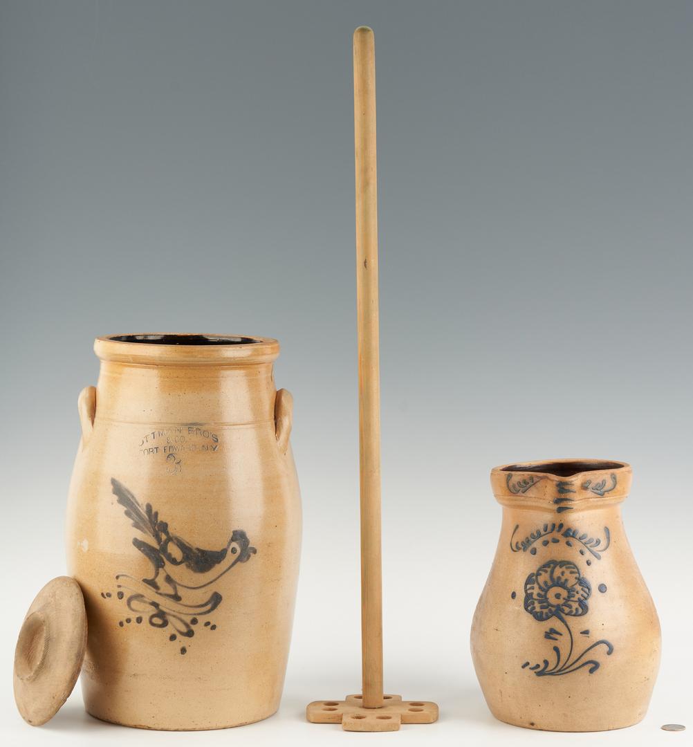 Lot 1075: New England Stoneware Butter Churn & Pitcher w/ Cobalt
