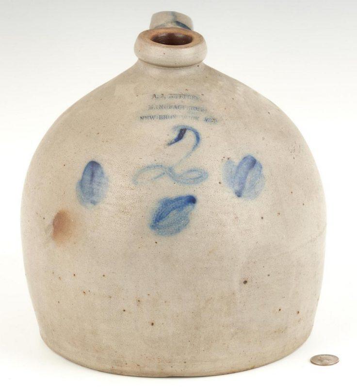 Lot 1076: New Jersey A. J. Buttler Stoneware Jug