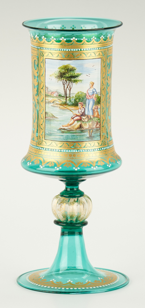 Lot 1079: 3 Bohemian Art Glass Items, Goblet & Compotes