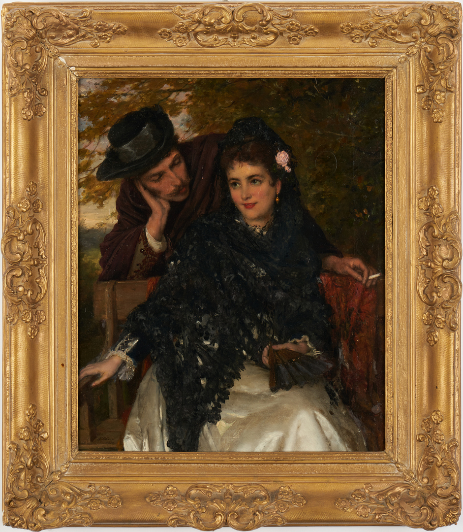 Lot 107: William Oliver O/C Painting, Spanish Lovers
