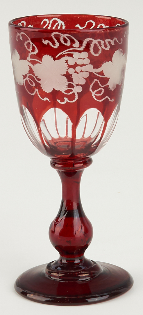 Lot 1080: Group Bohemian Ruby Flashed Decanters & Goblets