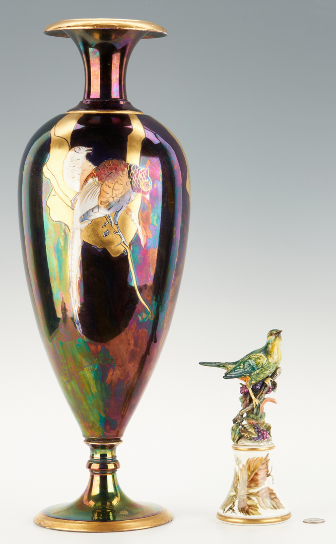 Lot 1082: Limoges Lustreware Art Nouveau Vase & Majolica Bird