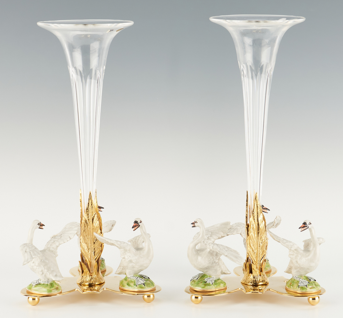 Lot 1083: Pair Cain Collection Trumpet Vase Centerpieces w/ Swans