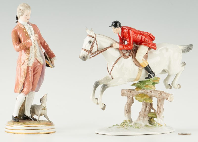 Lot 1085: 2 European Porcelain Male Figures, incl. Meissen, Augarten Wien