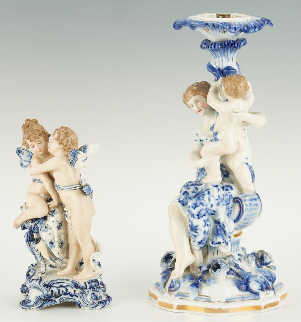 Lot 1086: Figural Candlestick, Meissen Plate & Cherub
