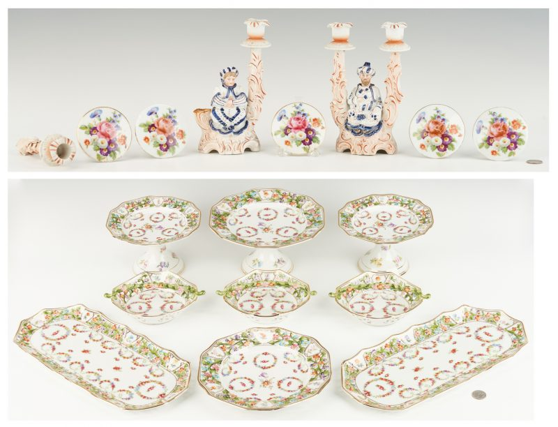 Lot 1088: Porcelain Dessert Set, Nodder Candlesticks and Tiebacks