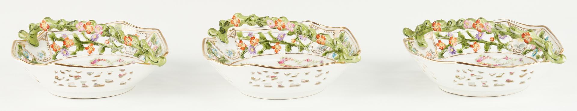 Lot 1088: Porcelain Dessert Set, Nodder Candlesticks and Tiebacks