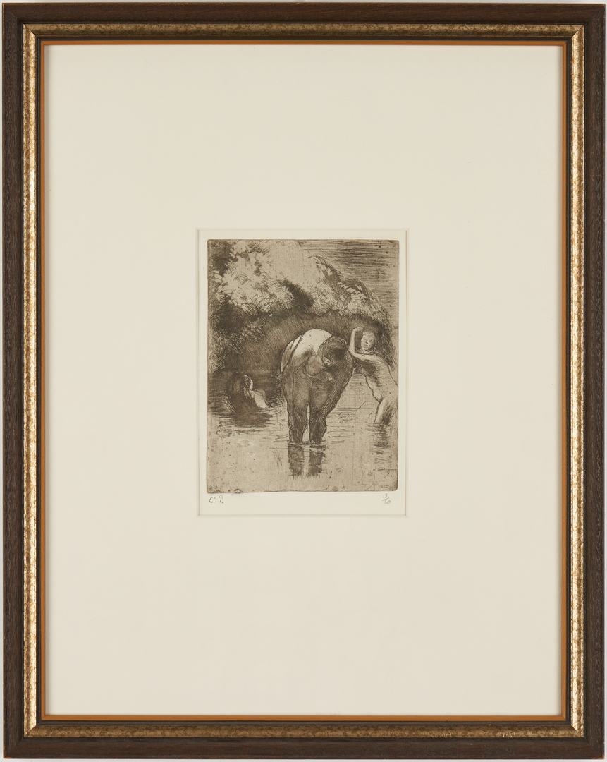 Lot 108: Camille Pissarro Etching, Three Women Bathing