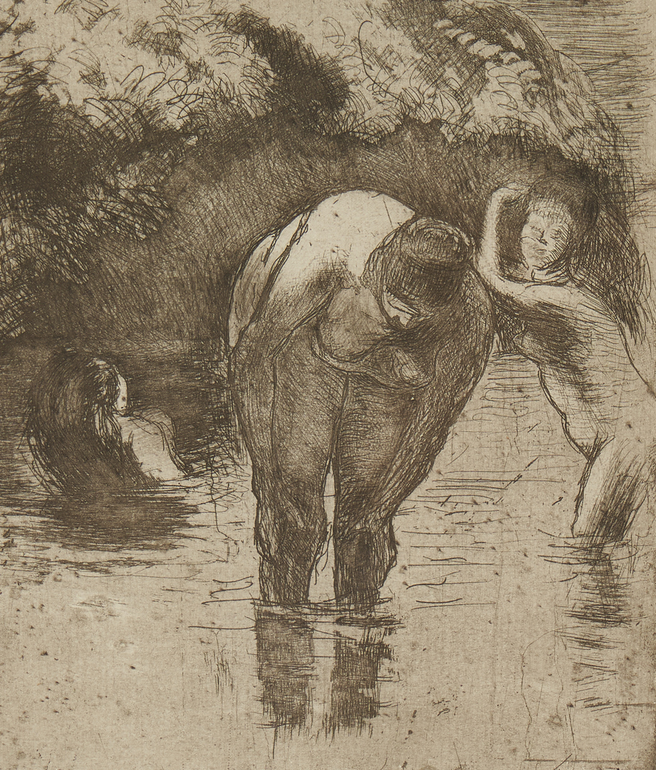 Lot 108: Camille Pissarro Etching, Three Women Bathing