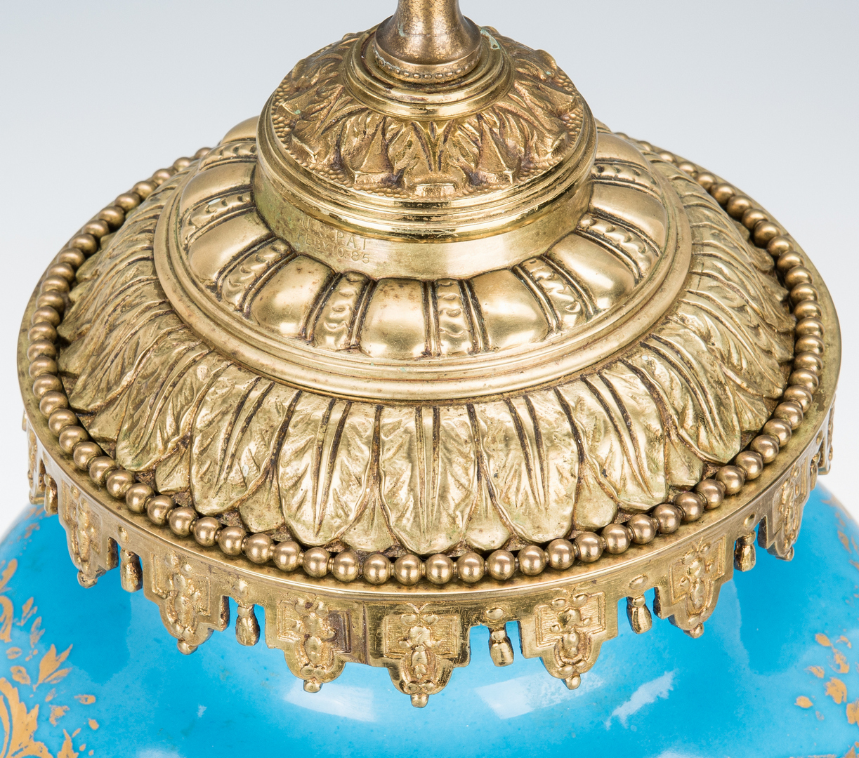 Lot 1090: Sevres Style Gilt Bronze Mounted Lamp