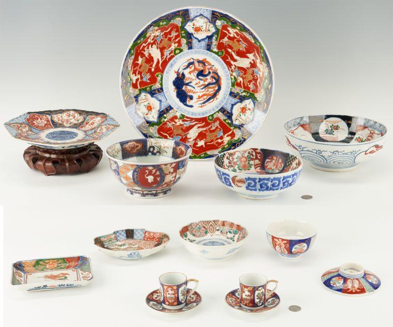 Lot 1092: 14 Japanese Imari or Arita Items, incl. Charger