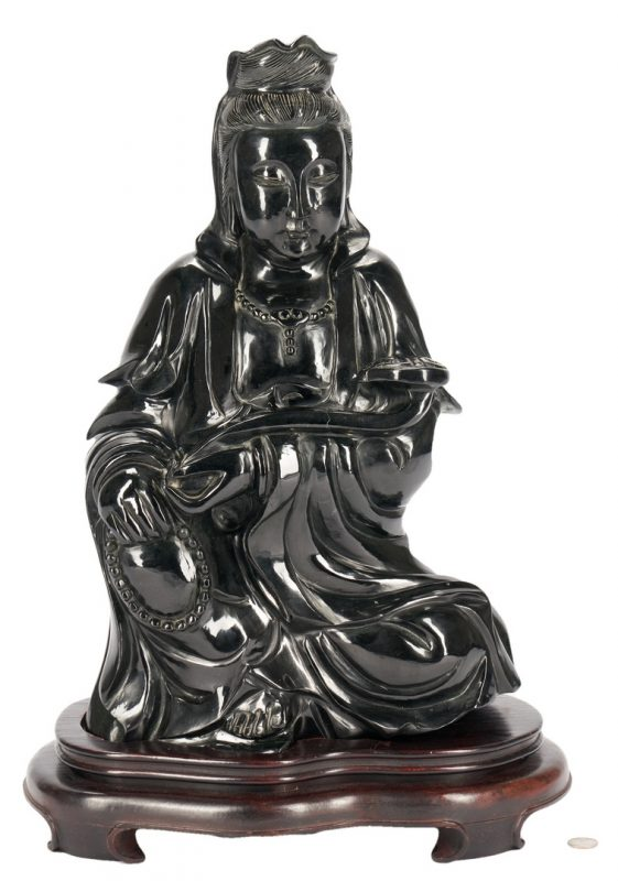 "Lot 1098: Monumental Jade or Hardstone Guanyin, 21"" H"