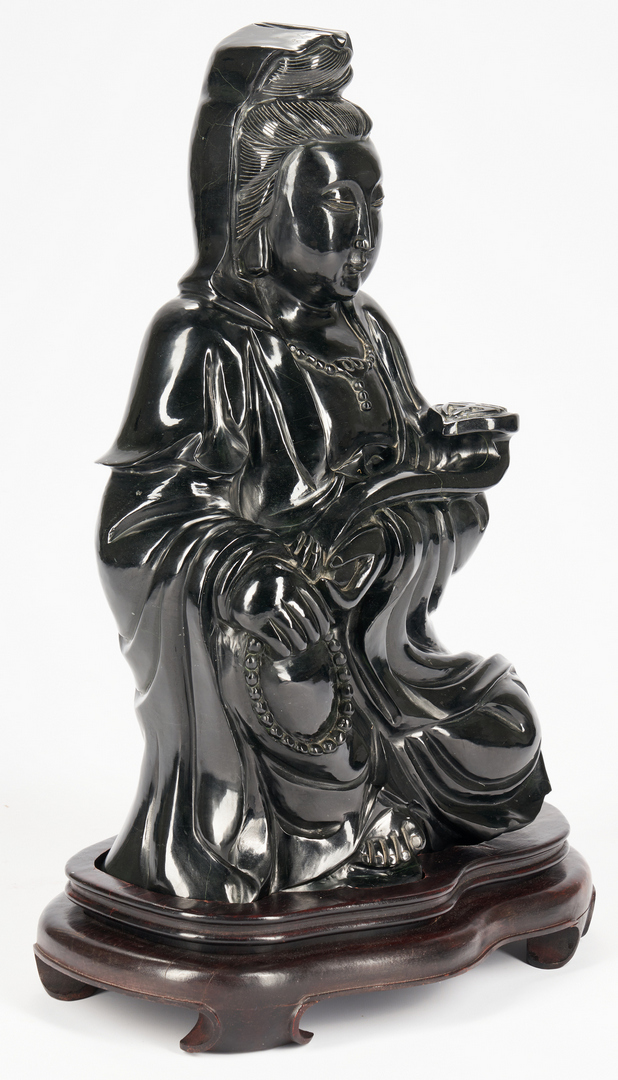 "Lot 1098: Monumental Black Jade or Hardstone Guanyin, 21"" H"