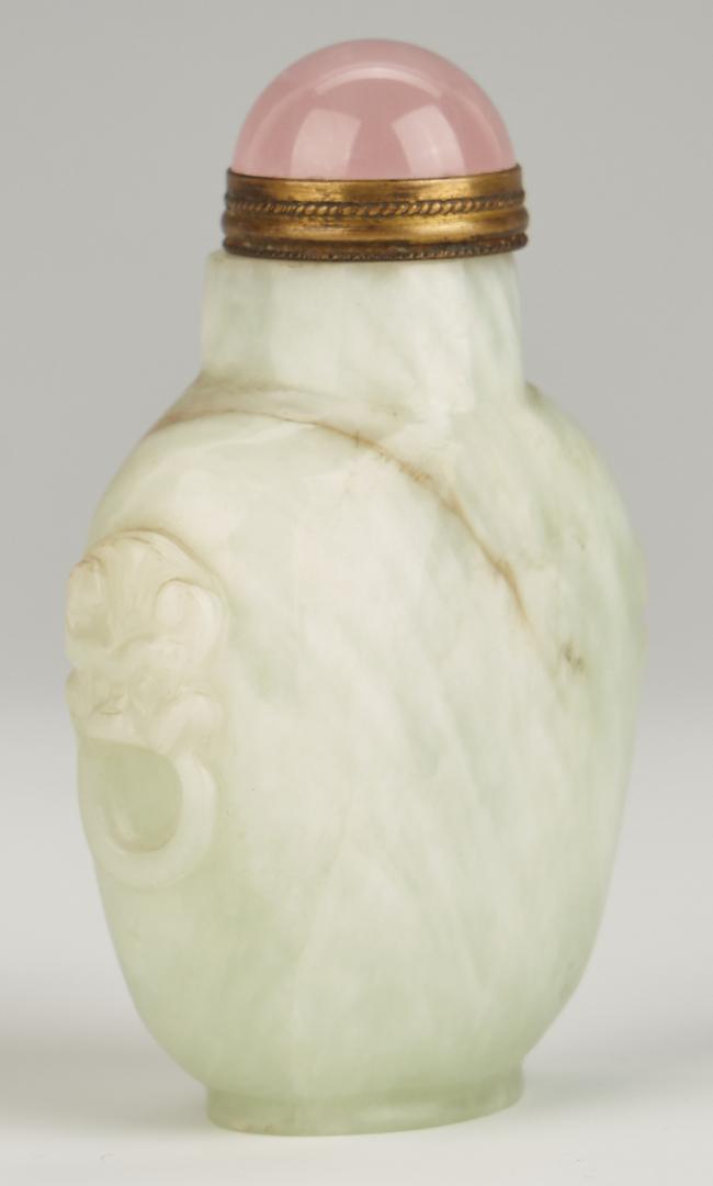 Lot 1099: 4 Chinese Jade pcs., incl. Carved Jade Figural Bru