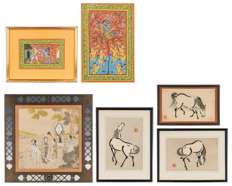 Lot 1104: 6 Asian Works of Art, incl. Mughal Paintings