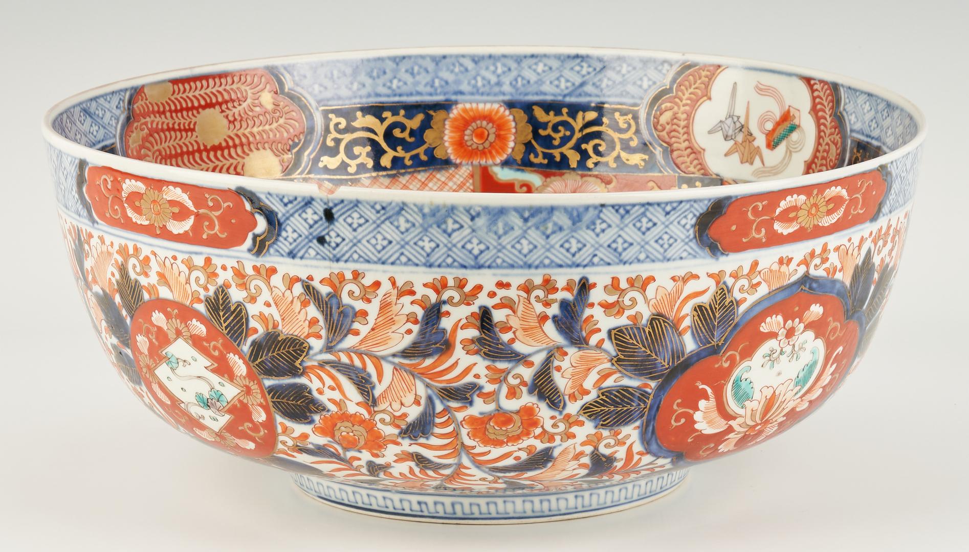 Lot 1106: 4 Japanese and English Imari items inc. Punch Bowl