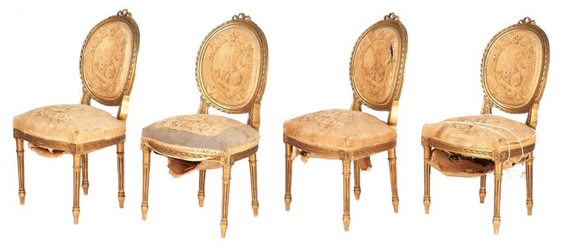 Lot 1109: 4 Louis XVI style giltwood chairs