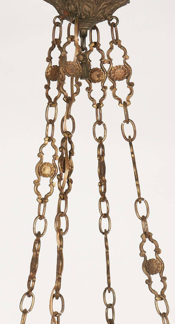 Lot 1112: Bronze and Blue Glass Chandelier
