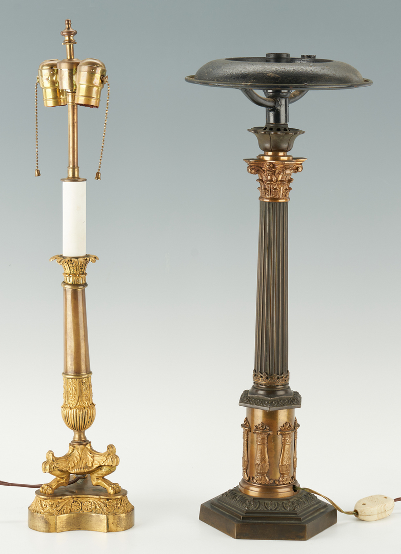 Lot 1115: 2 French Empire Style Candlestick Lamps inc. Ormolu