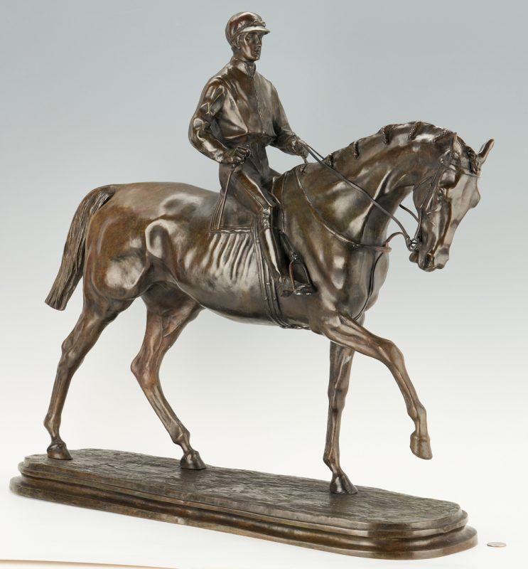 Lot 1119: After P.J. Mene, Bronze Sculpture Horse & Jockey