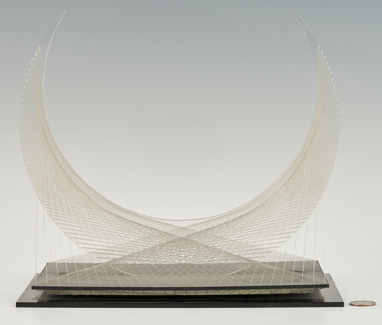 Lot 1123: Abstract Acrylic & Wire Sculpture, Crescent