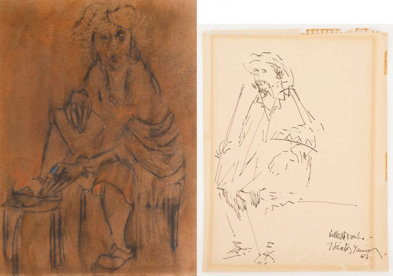 Lot 1124: 2 Portrait Drawings, incl. Zero Mostel