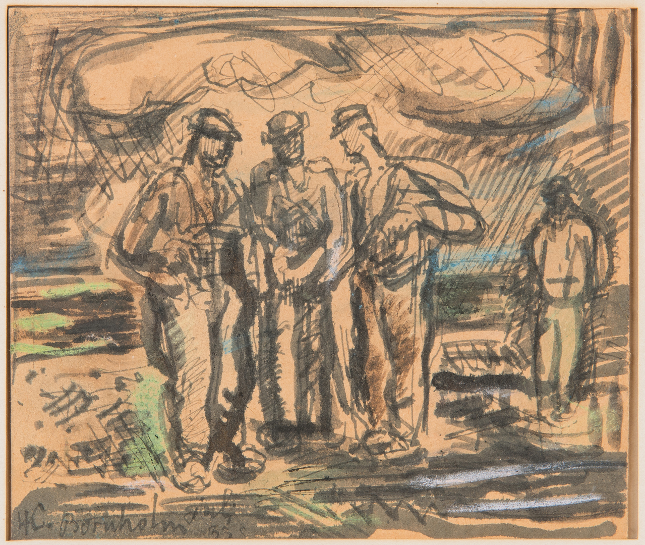 Lot 1125: H.C. Bornholm Watercolor, Painting of Workers & Abstract Nude Drawing