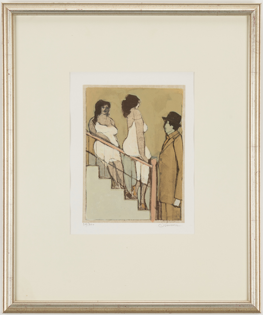 Lot 1126: David Schneuer Lithograph, Women on Stairs