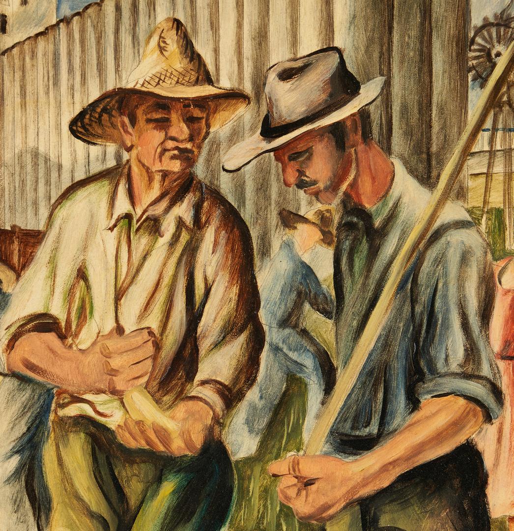 Lot 112: Joseph Vorst WPA Mural Study, O/B – Hutchinson's Wheatbelt