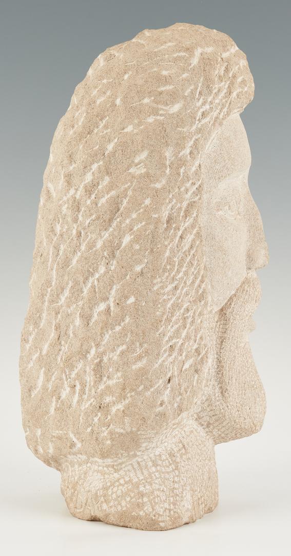 Lot 1132: Folk Art Carved Limestone Sculpture of Christ, David Day