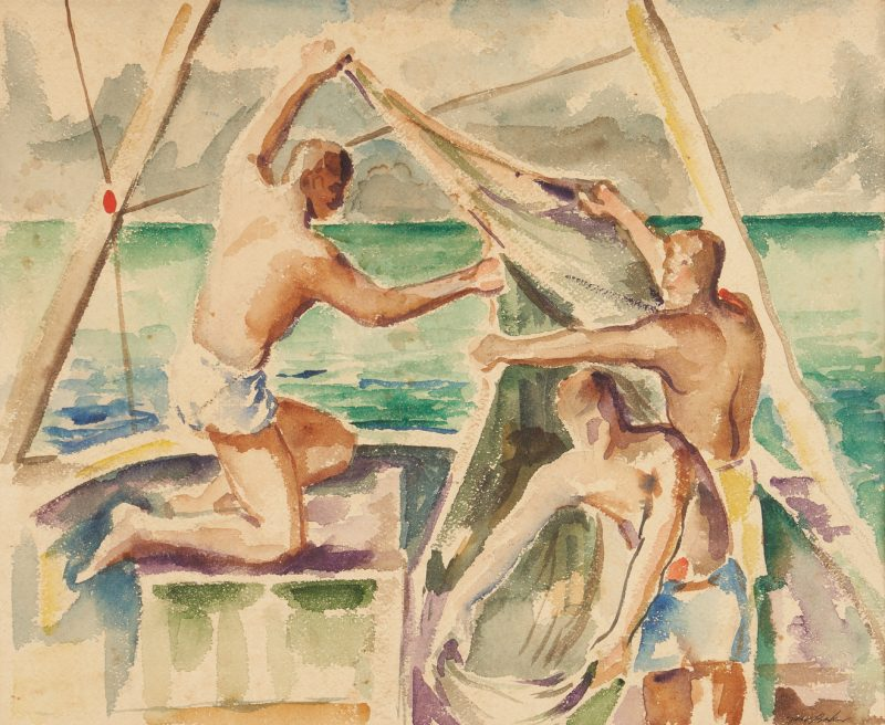 Lot 1135: Gus Baker Watercolor of Men on Sailboat