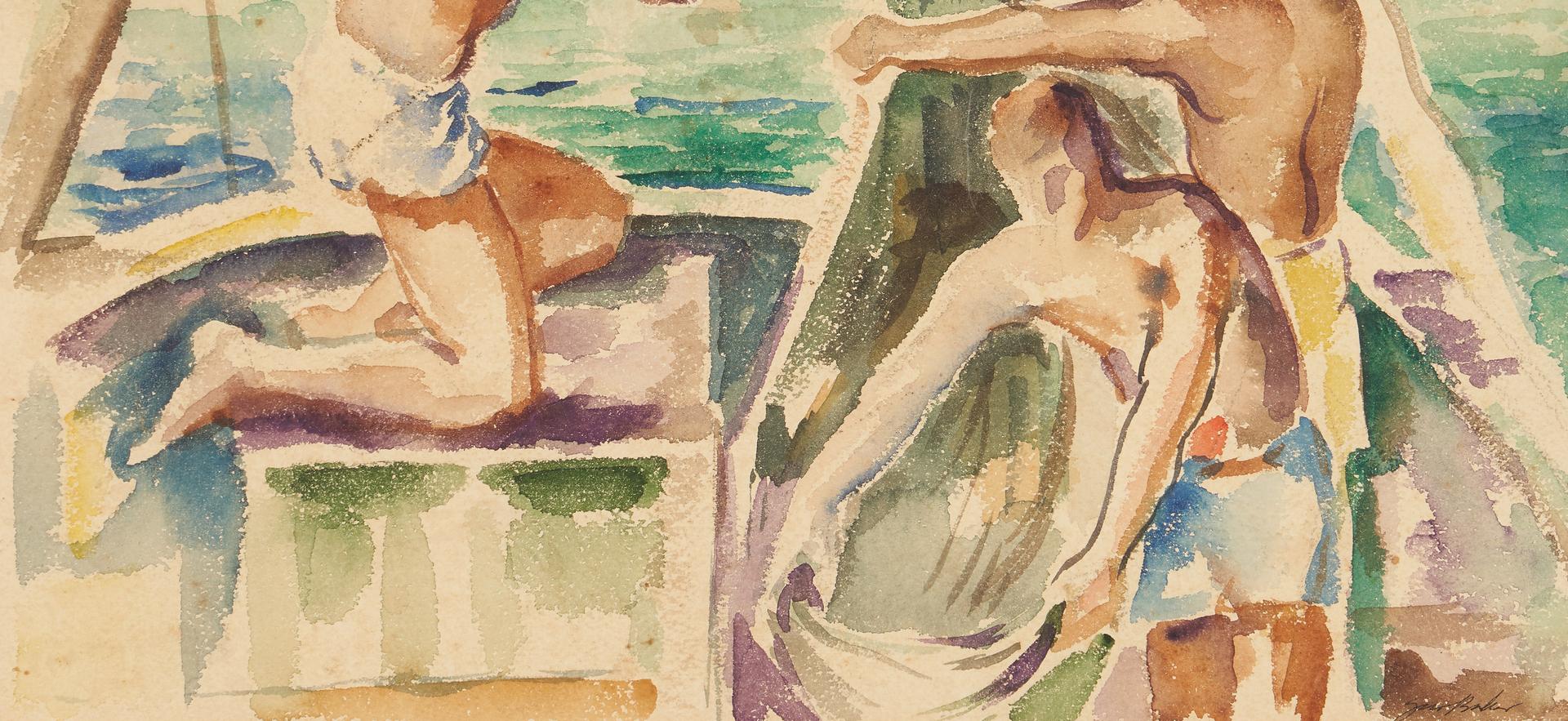 Lot 1135: Gus Baker Watercolor of Men on Sailboat