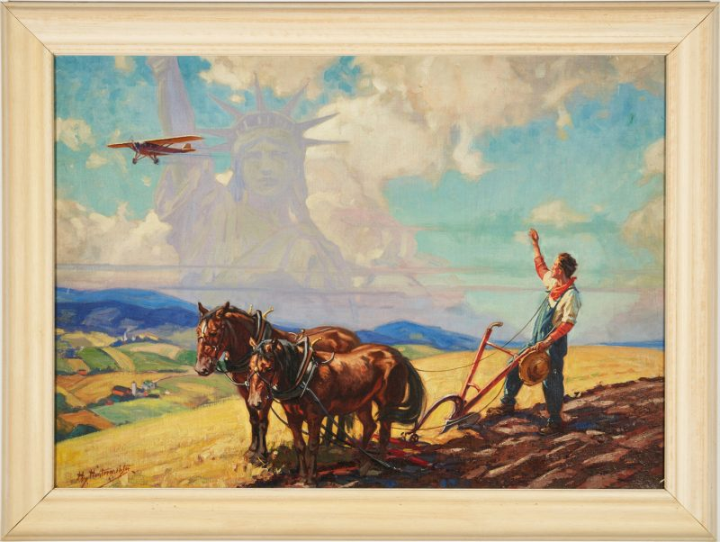 Lot 113: Henry Hintermeister O/C, Statue of Liberty & Farmer w/ Plow