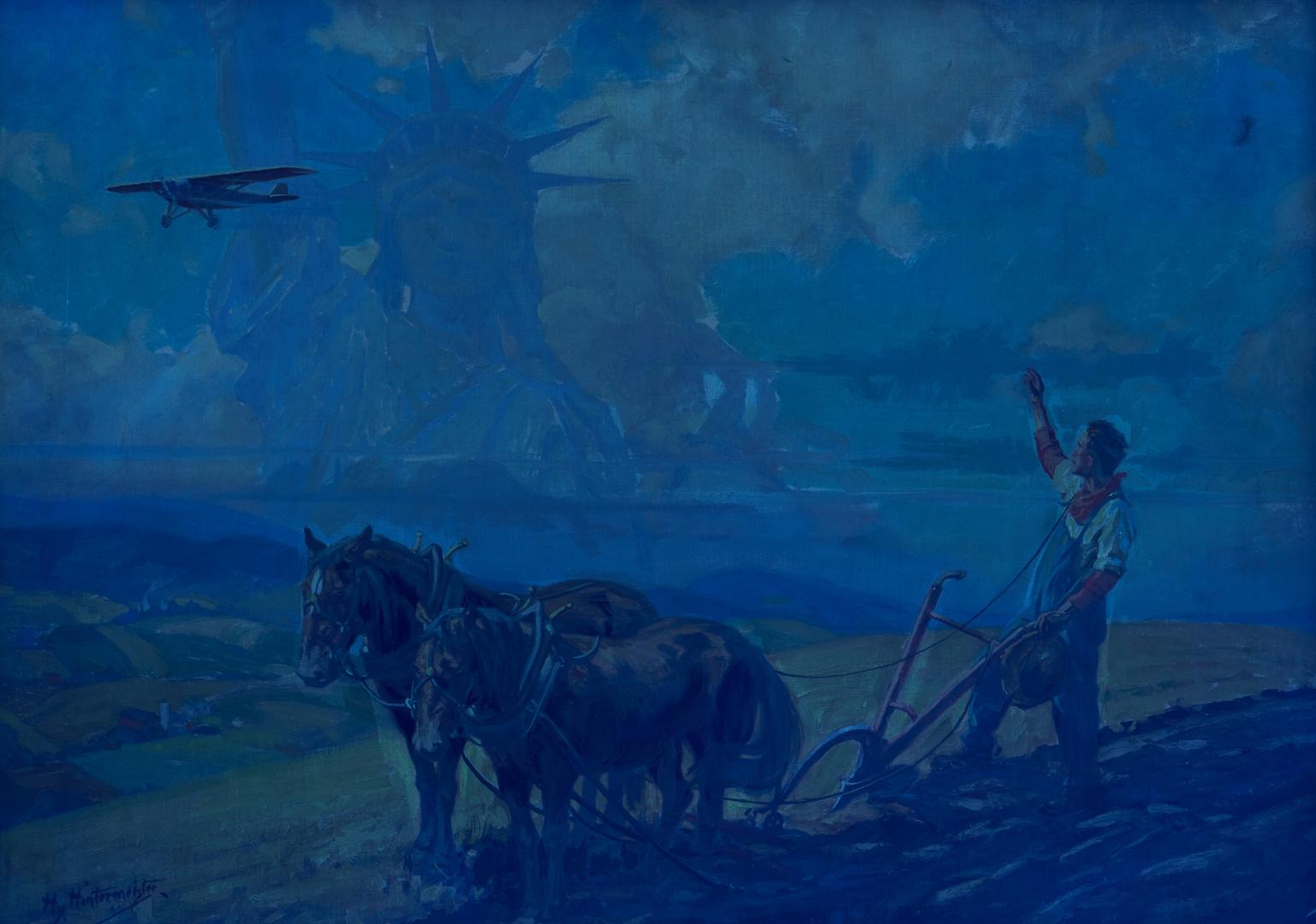 Lot 113: Henry Hintermeister O/C, Statue of Liberty & Farmer w/ Plow