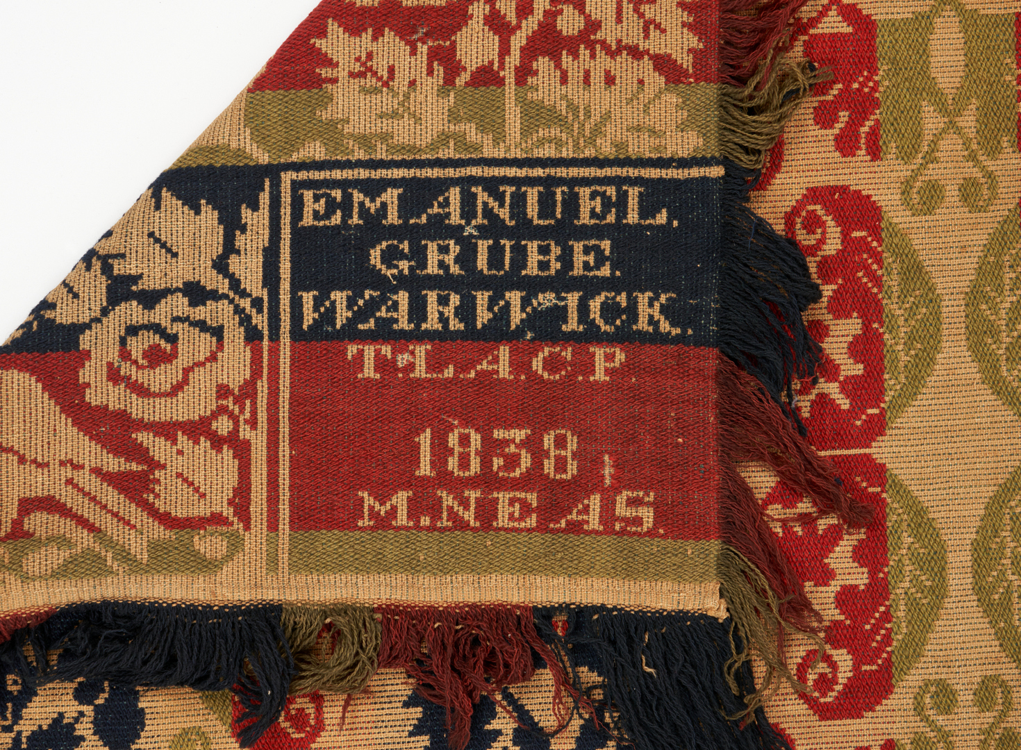 Lot 1144: Signed Jacquard coverlet, 1838