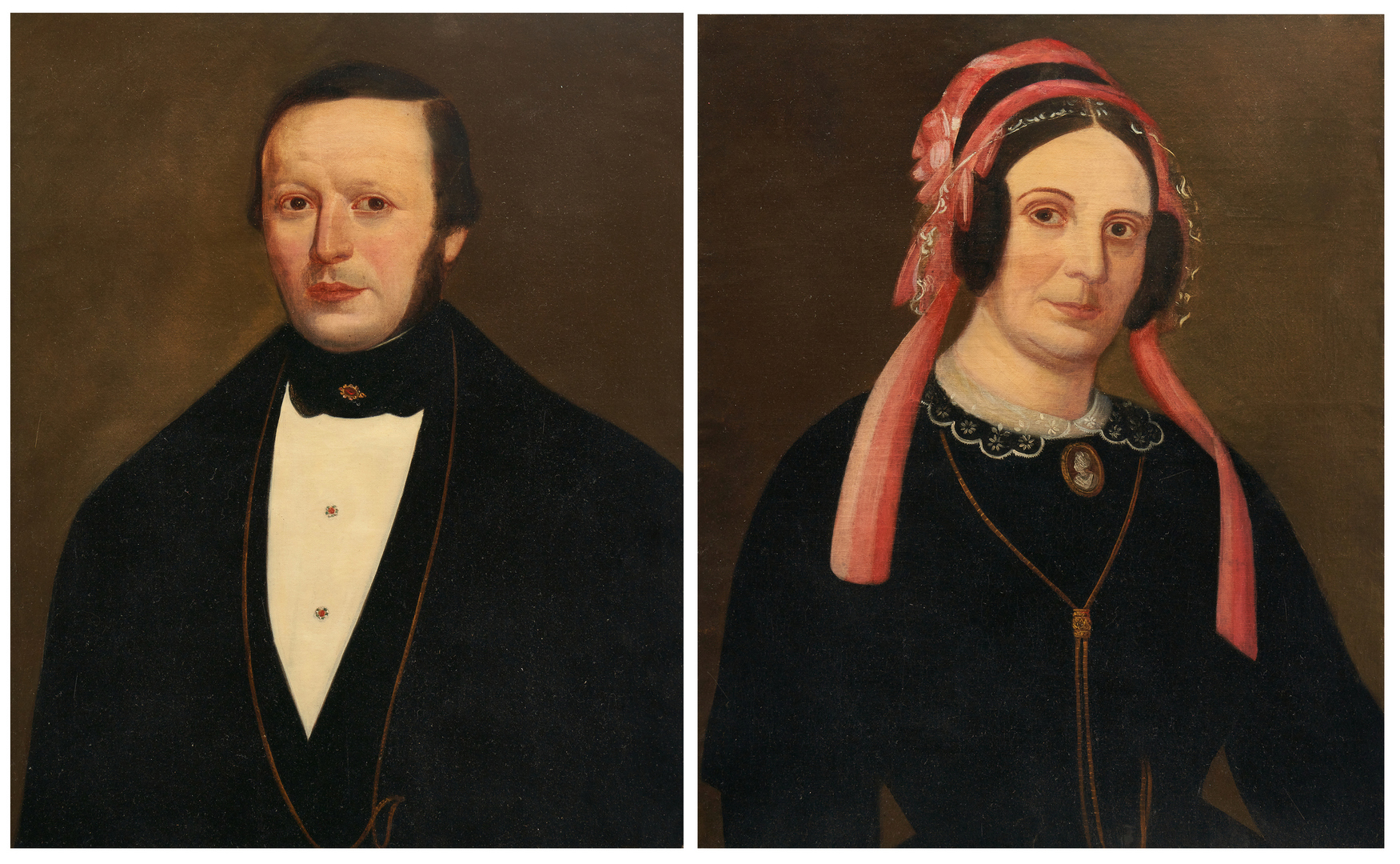 Lot 1145: Pair Male and Female Portraits, c. 1850