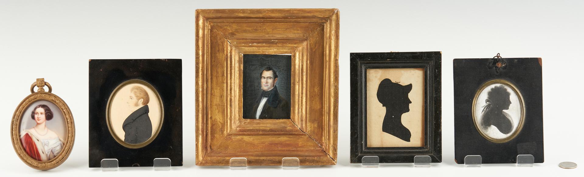 Lot 1146: 3 Miniature Portraits plus 2 Silhouettes