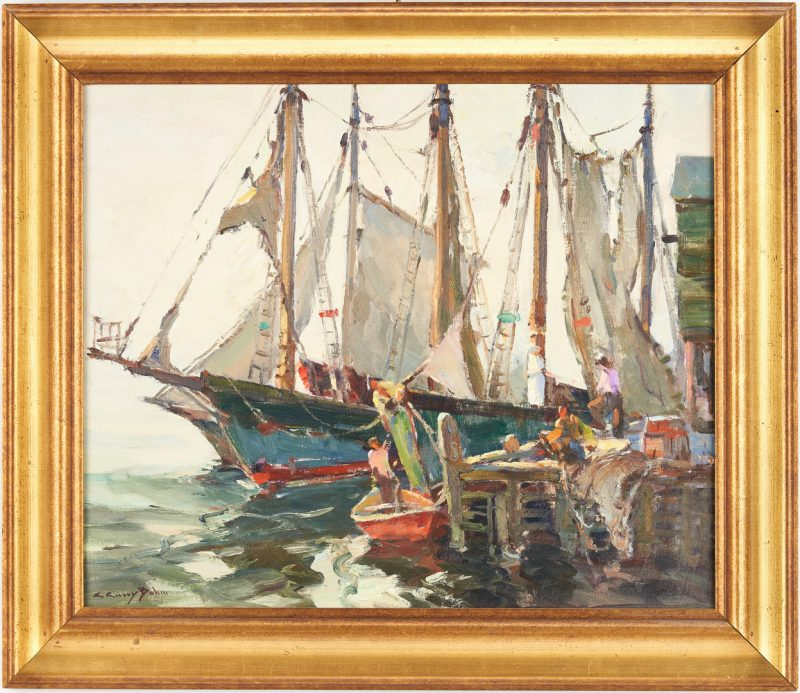 Lot 114: C. Curry Bohm O/C Harbor Scene, Loading