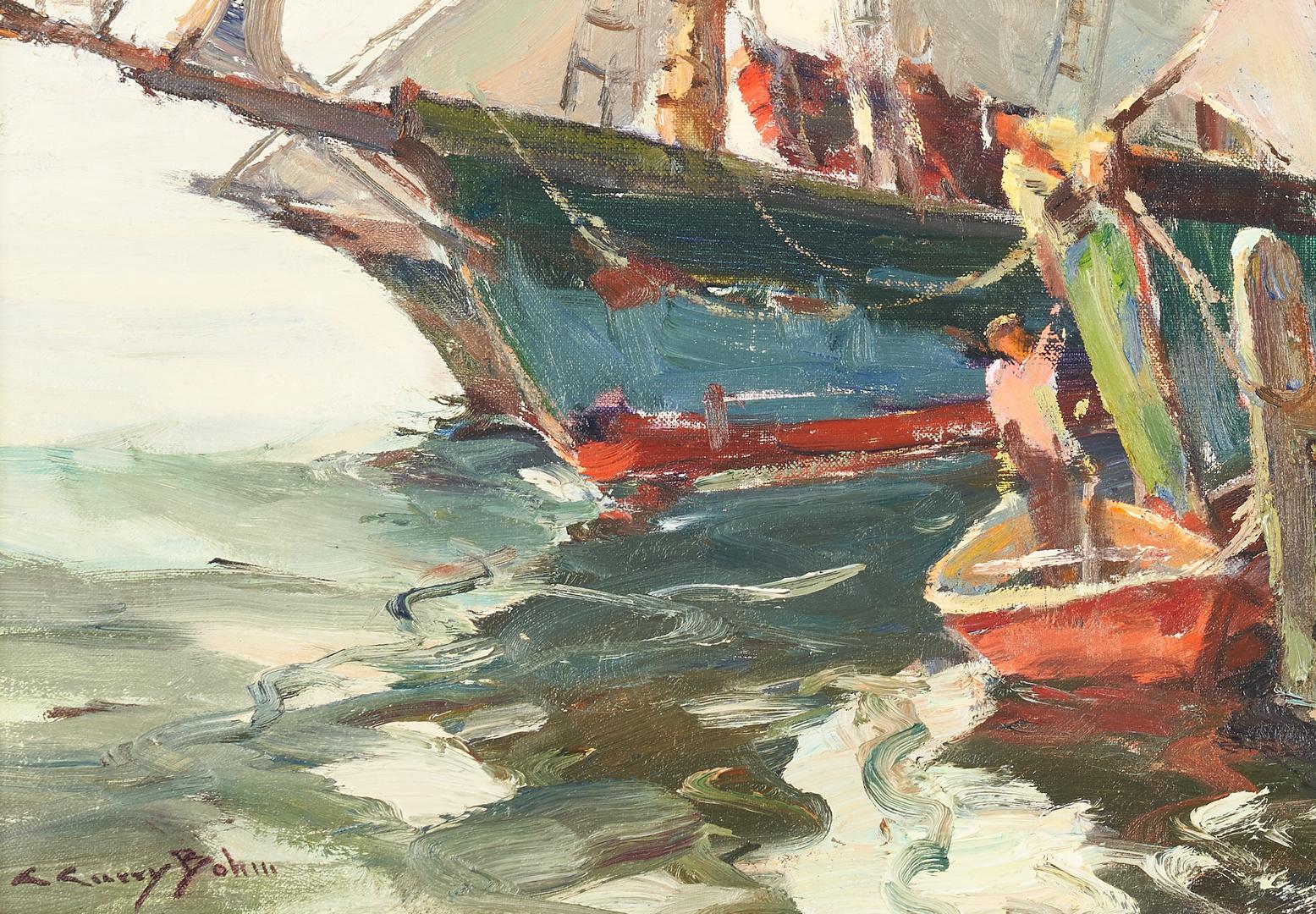 Lot 114: C. Curry Bohm O/C Harbor Scene, Loading