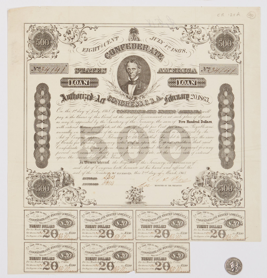 Lot 1154: 21 Civil War Era Paper Ephemera items, incl. CSA Obsolete Currency, Postal Covers
